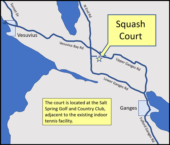 Map to wquash court on Salt Spring Island, BC